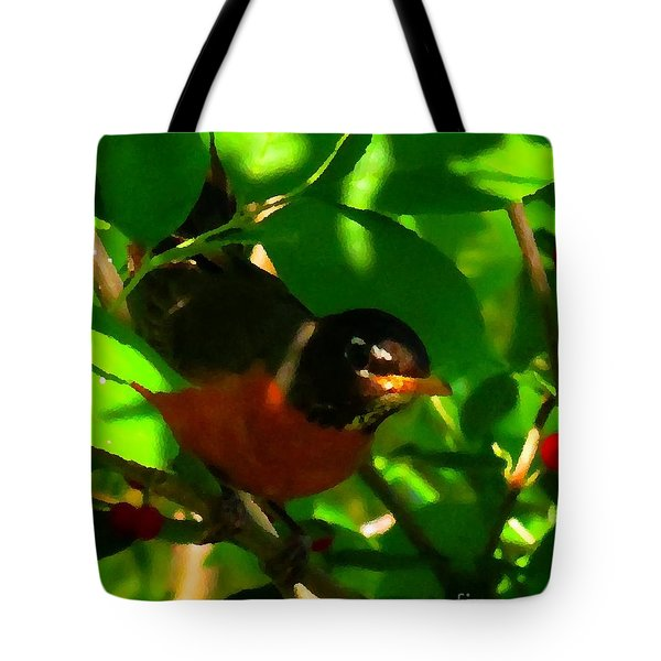 Robin Peeping Through Leaves Faux Oil Tote Bag by Rrrose Pix