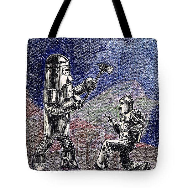 Rocket Man And Robot Tote Bag by Mel Thompson