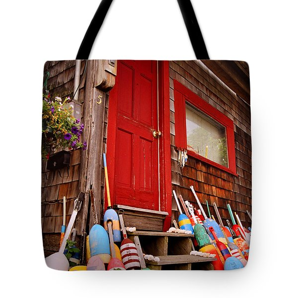Rockport Buoys Tote Bag by Joann Vitali