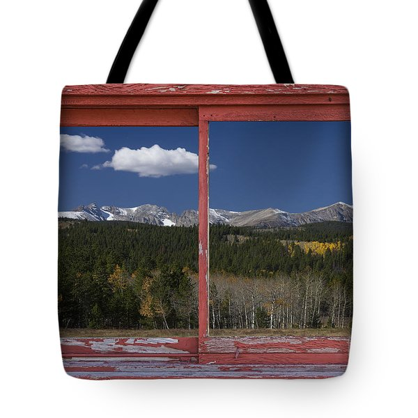 Rocky Mountain Autumn Red Rustic Picture Window Frame Photos Art Tote Bag by James BO  Insogna