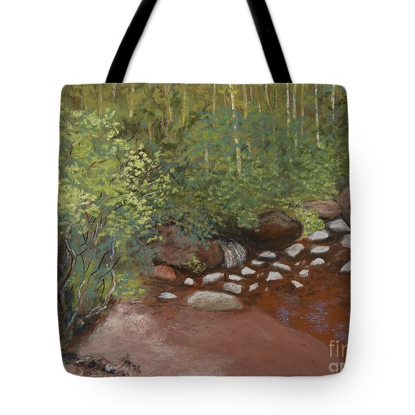 Rocky Mountain Creek Tote Bag by Ginny Neece