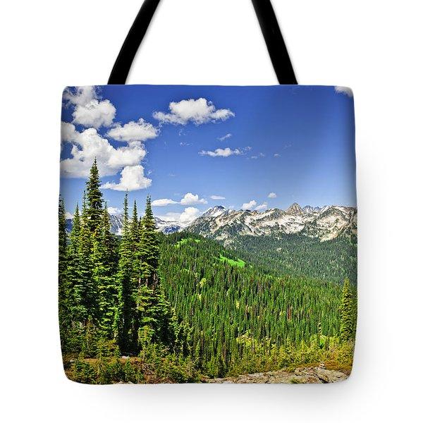 Rocky mountain view from Mount Revelstoke Tote Bag by Elena Elisseeva