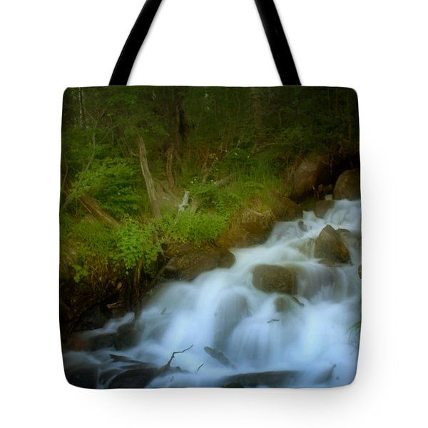 Rocky Mountain Waterfall Tote Bag by Ellen Heaverlo