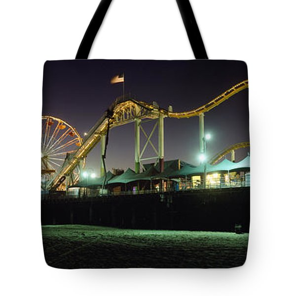 Rollercoaster And Ferris Wheel At Dusk Tote Bag by Axiom Photographic