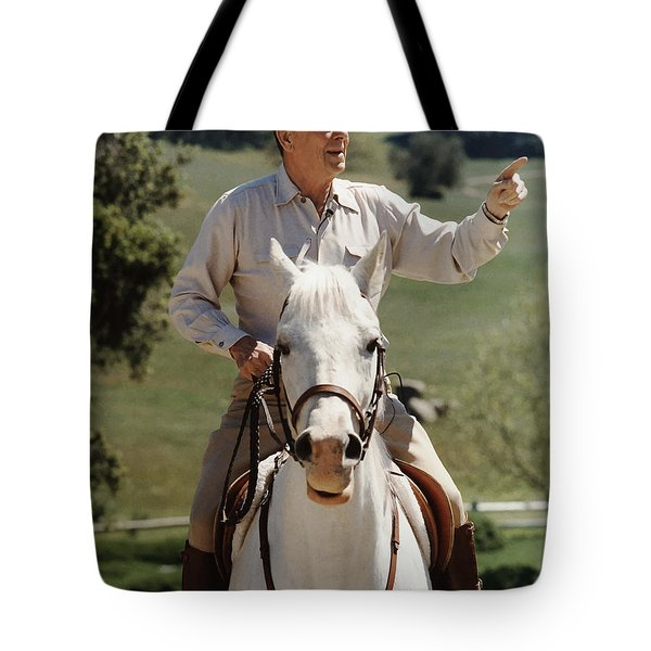 Ronald Reagan On Horseback  Tote Bag by War Is Hell Store