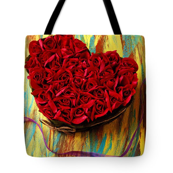 Rose heart and ribbon Tote Bag by Garry Gay