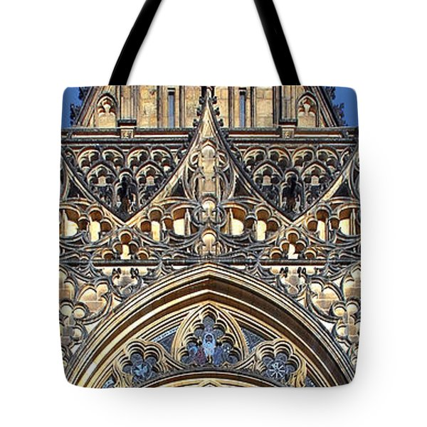Rose Window - Exterior of St Vitus Cathedral Prague Castle Tote Bag by Christine Till