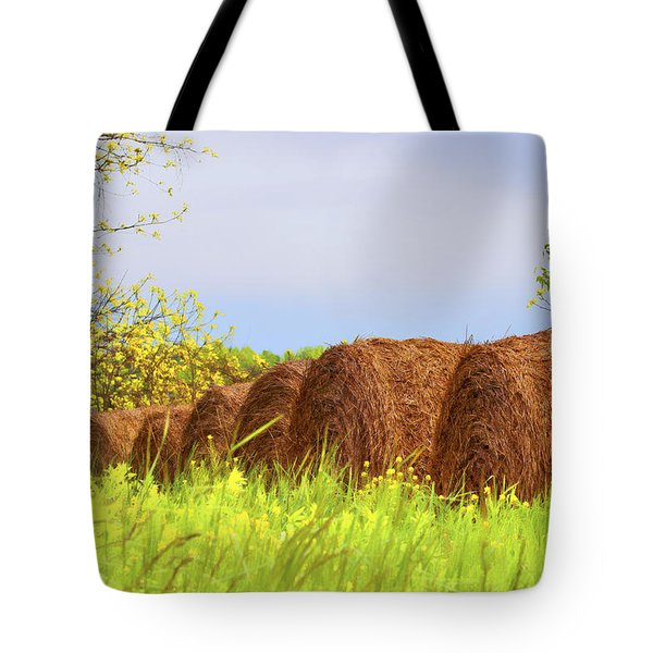 Round Bales Tote Bag by Tom Mc Nemar