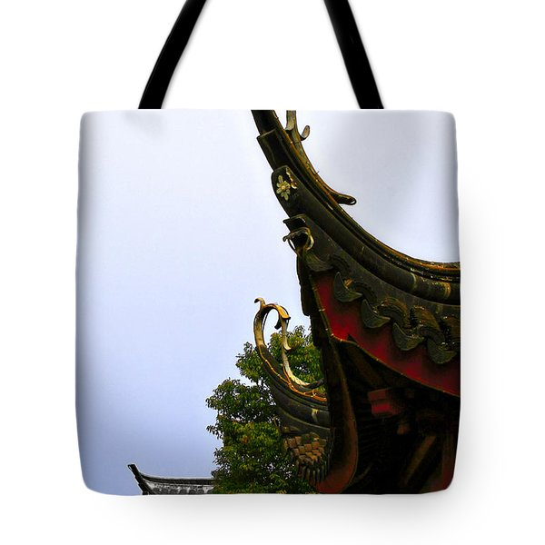 Row of Chinese Rooftops Tote Bag by Christine Till