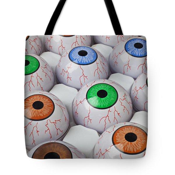 Rows of eyeballs Tote Bag by Garry Gay