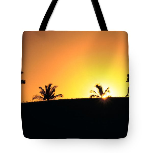 Running At Sunset Tote Bag by Dana Edmunds - Printscapes