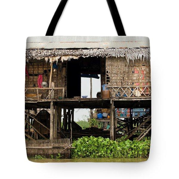Rural Fishermen Houses In Cambodia Tote Bag by Artur Bogacki