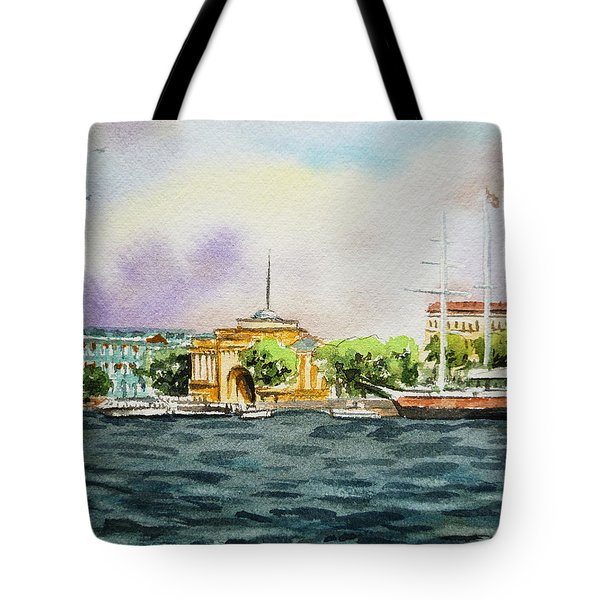 Russia Saint Petersburg Neva River Tote Bag by Irina Sztukowski