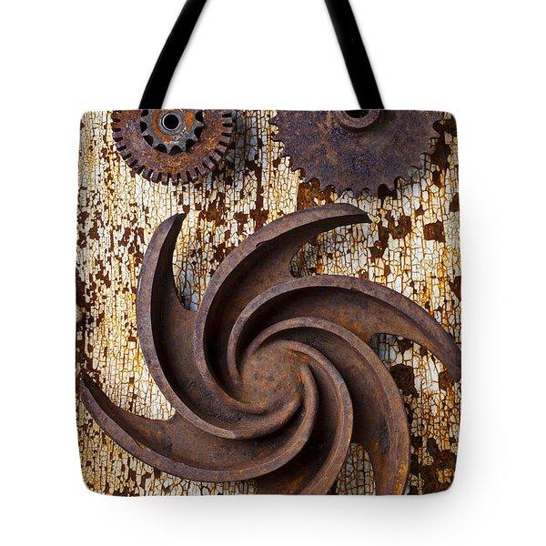 Rusty Gears Tote Bag by Garry Gay