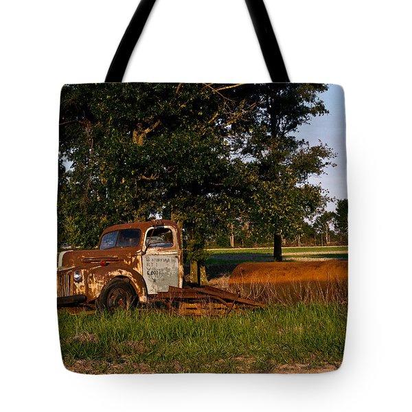 Rusty Truck And Tank Tote Bag by Douglas Barnett