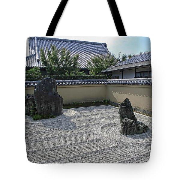 Ryogen-in Raked Gravel Garden - Kyoto Japan Tote Bag by Daniel Hagerman