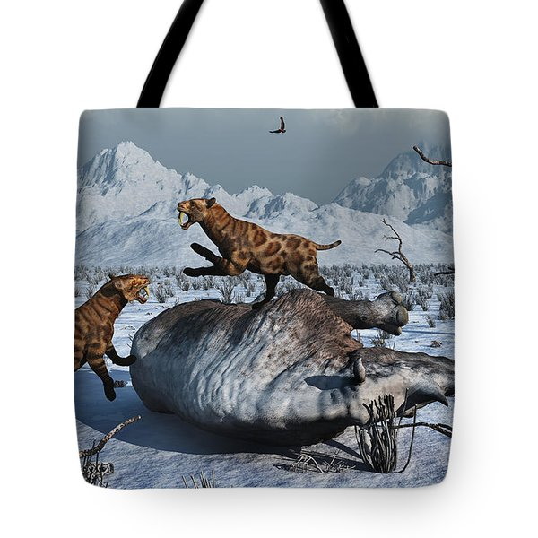Sabre-toothed Tigers Battle Tote Bag by Mark Stevenson