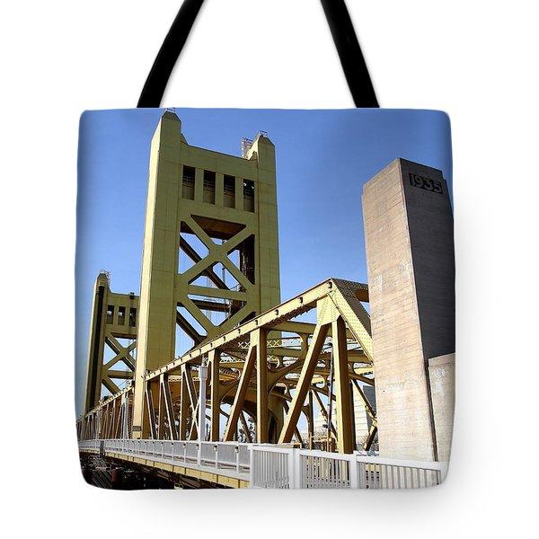 Sacramento California Tower Bridge Crossing The Sacramento Delta River . 7d11553 Tote Bag by Wingsdomain Art and Photography