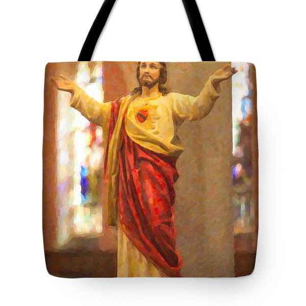 Sacred Heart Of Jesus Tote Bag by Clarence Holmes