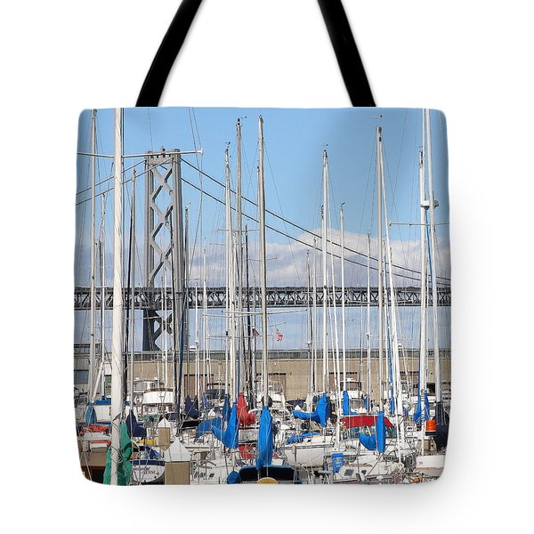 Sail Boats At San Francisco China Basin Pier 42 With The Bay Bridge In The Background . 7d7683 Tote Bag by Wingsdomain Art and Photography