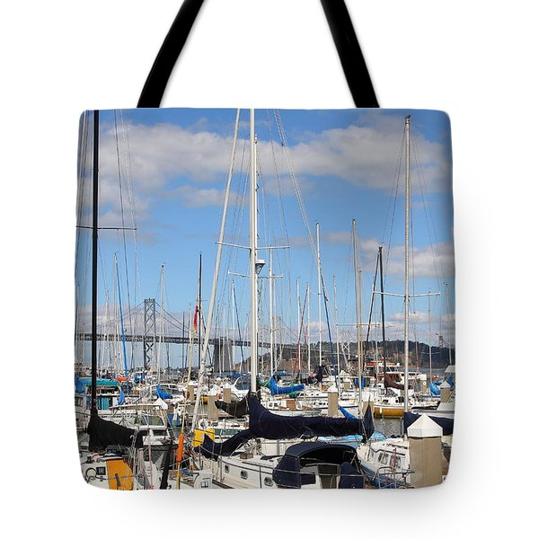 Sail Boats At San Francisco China Basin Pier 42 With The Bay Bridge In The Background . 7d7685 Tote Bag by Wingsdomain Art and Photography