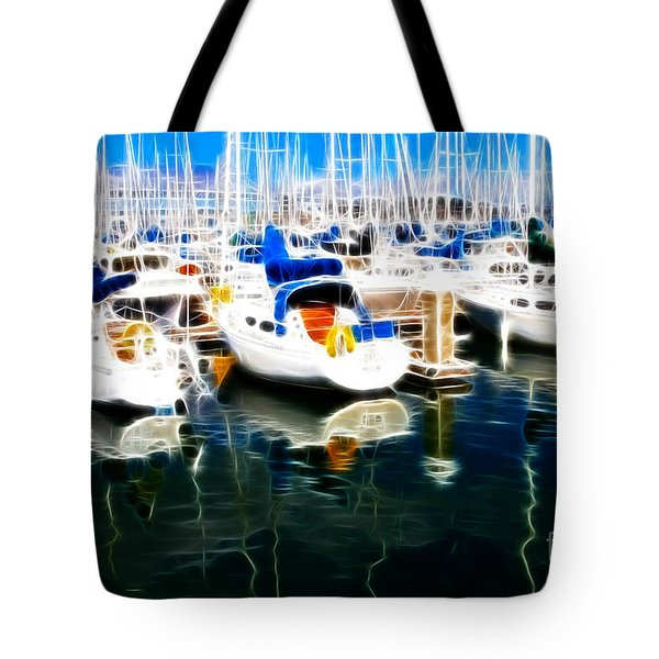 Sail Boats At San Francisco's Pier 42 . Electrified Tote Bag by Wingsdomain Art and Photography
