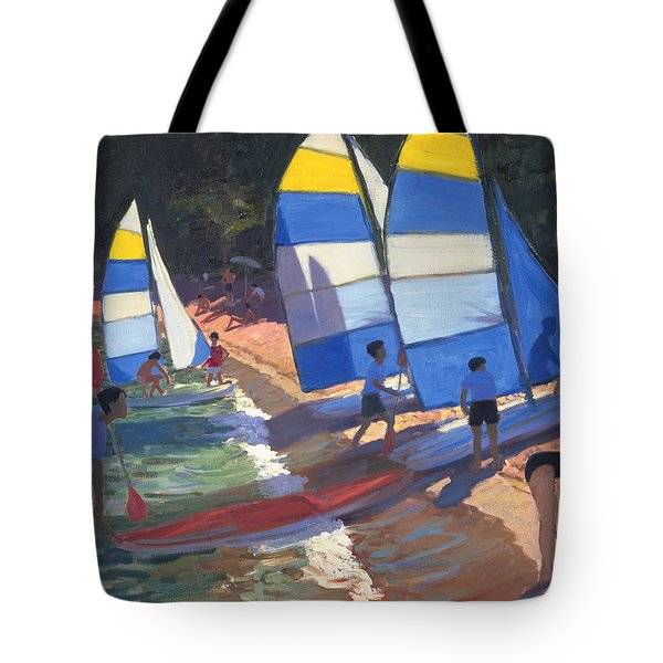 Sailboats South Of France Tote Bag by Andrew Macara