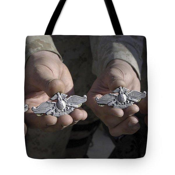 Sailors Display Their Fleet Marine Tote Bag by Stocktrek Images