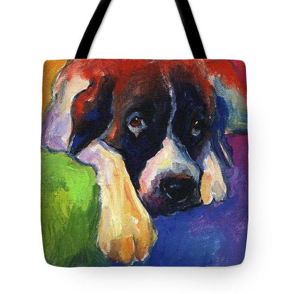 Saint Bernard Dog Colorful Portrait Painting Print Tote Bag by Svetlana Novikova