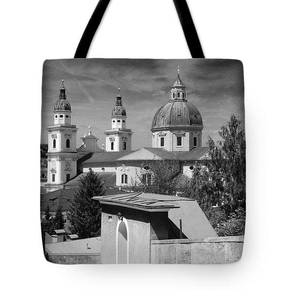Salzburg Black And White Austria Europe Tote Bag by Sabine Jacobs