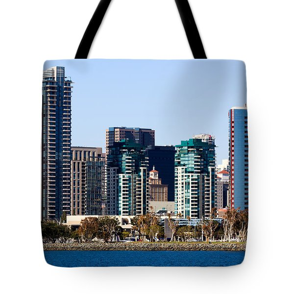 San Diego California Skyline Tote Bag by Paul Velgos