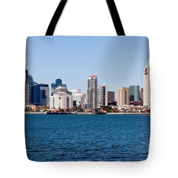 San Diego Skyline Buildings Tote Bag by Paul Velgos