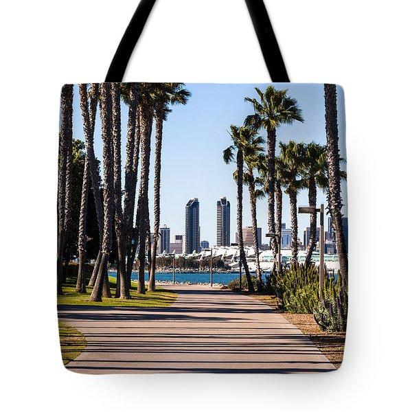 San Diego Skyline with Coronado Island Bayshore Bikeway Tote Bag by Paul Velgos