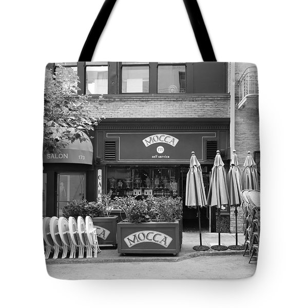 San Francisco - Maiden Lane - Mocca Cafe - 5d17788 - Black And White Tote Bag by Wingsdomain Art and Photography