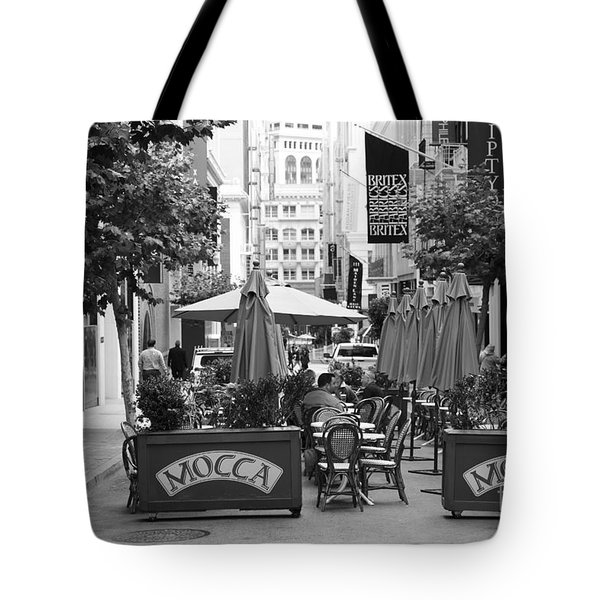 San Francisco - Maiden Lane - Outdoor Lunch at Mocca Cafe - 5D17932 - black and white Tote Bag by Wingsdomain Art and Photography