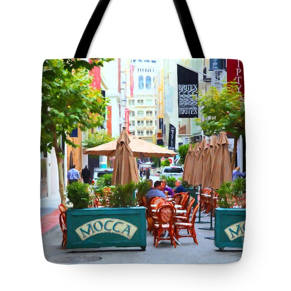 San Francisco - Maiden Lane - Outdoor Lunch at Mocca Cafe - 5D17932 - Painterly Tote Bag by Wingsdomain Art and Photography