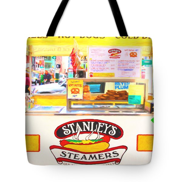San Francisco - Stanley's Steamers Hot Dog Stand - 5D17929 - Square - Painterly Tote Bag by Wingsdomain Art and Photography