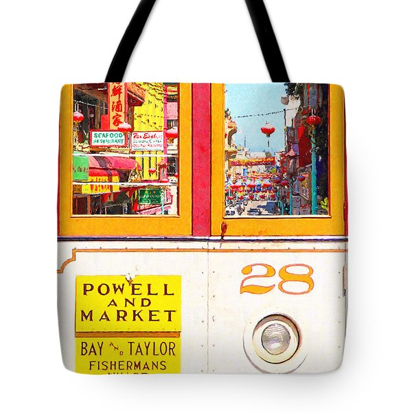 San Francisco Cablecar 28 . Chinatown Tote Bag by Wingsdomain Art and Photography