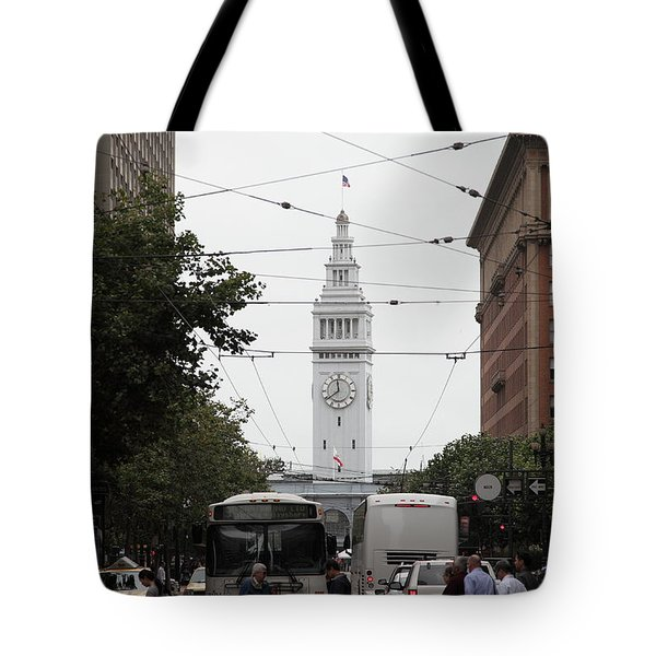 San Francisco Ferry Building at End of Market Street - 5D17863 Tote Bag by Wingsdomain Art and Photography