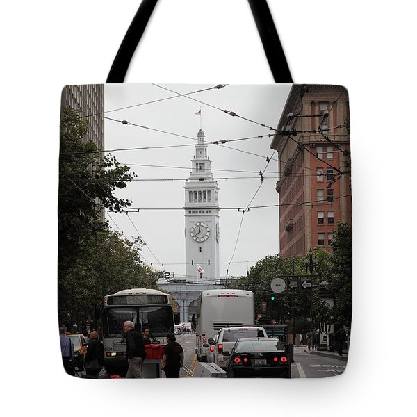 San Francisco Ferry Building at End of Market Street - 5D17865 Tote Bag by Wingsdomain Art and Photography