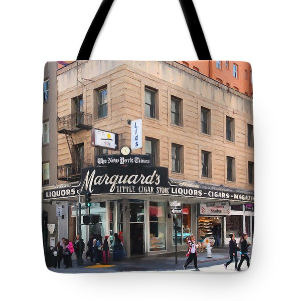 San Francisco Marquards Little Cigar Store on Powell Street - 5D17950 - Painterly Tote Bag by Wingsdomain Art and Photography