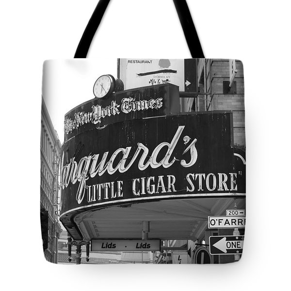 San Francisco Marquard's Little Cigar Store Powell and O'Farrell Streets - 5D17954 - black and white Tote Bag by Wingsdomain Art and Photography