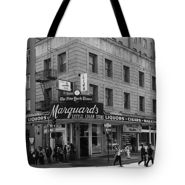 San Francisco Marquards Little Cigar Store Powell Street - 5D17950 - black and white Tote Bag by Wingsdomain Art and Photography