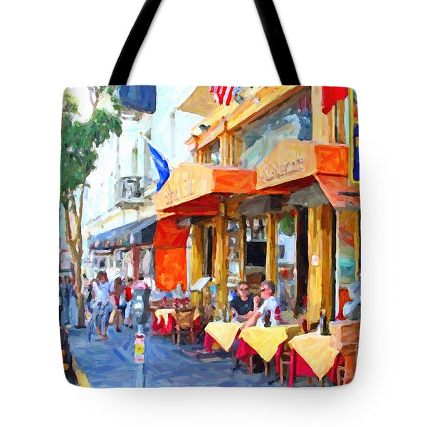 San Francisco North Beach Outdoor Dining Tote Bag by Wingsdomain Art and Photography