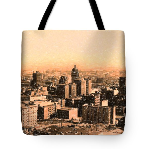 San Francisco Skyline 1909 showing South of Market Street Tote Bag by Wingsdomain Art and Photography