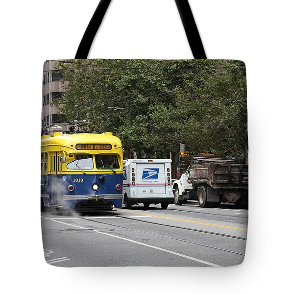 San Francisco Vintage Streetcar On Market Street - 5d17849 Tote Bag by Wingsdomain Art and Photography