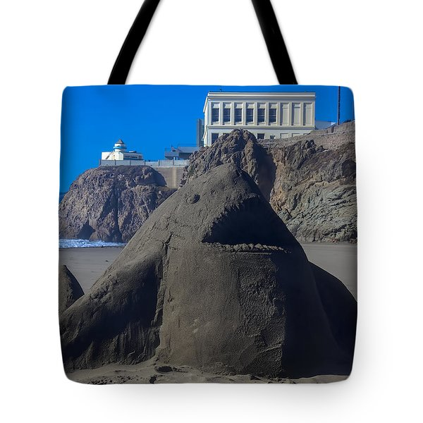 Sand Shark At Cliff House Tote Bag by Garry Gay