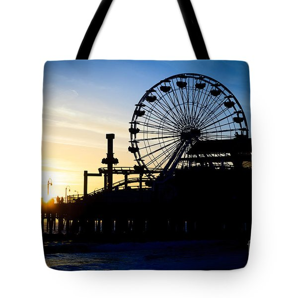 Santa Monica Pier Ferris Wheel Sunset Southern California Tote Bag by Paul Velgos
