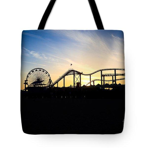 Santa Monica Pier Sunset Photo Tote Bag by Paul Velgos
