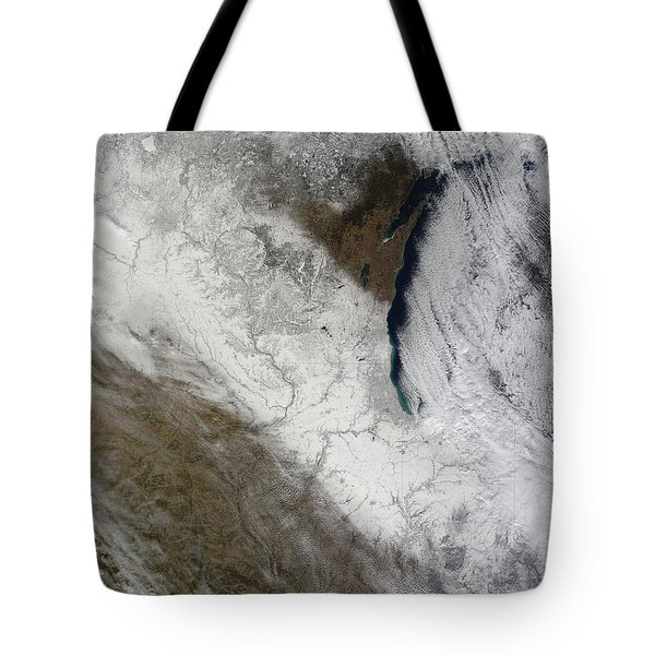 Satellite View Of Snow And Cold Tote Bag by Stocktrek Images
